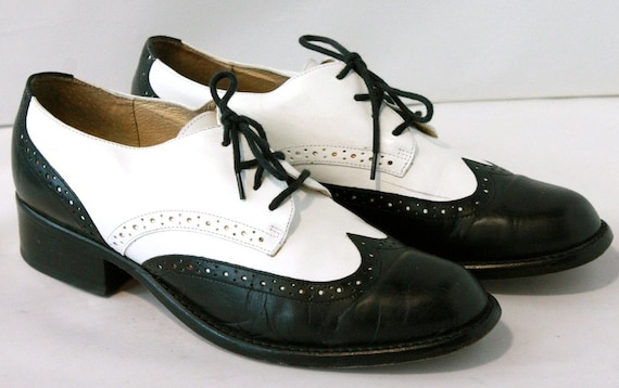 vintage rockabilly oxford shoes black and white kenneth