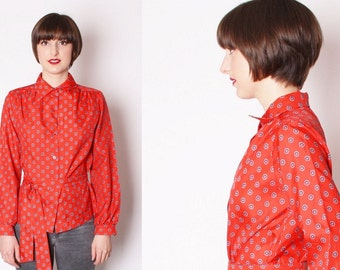 Vintage Red 1970s Belted Blouse / Vintage Blouse / Red Blouse / Paisley / Office Fashion / 1766