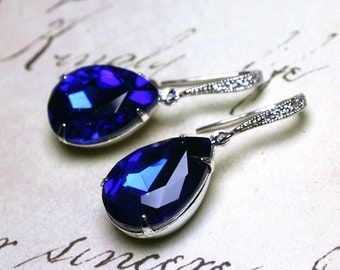 Sapphire Blue Vintage Jeweled Earrings - Something Blue - Sterling Silver and CZ Earwires with Royal Blue Jewels