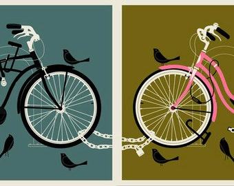 Bird Bike Love Set 12 x 16 silkscreen