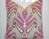 DURALEE - Decorative Pillow Cover - IKAT -  Accent Pillow - Throw Pillow  - Rose Pink - Brown