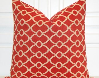 Decorative Pillow Cover -  Accent Pillow - Throw Pillow - Geometric - Lattice - Orange Red