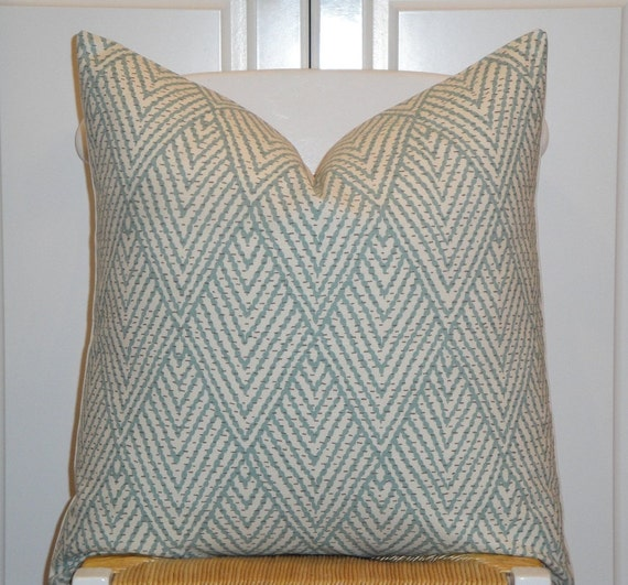 Decorative Pillow Cover Aqua Brown Sofa Pillow Trellis