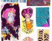 blue orange pink art journal collage sheet