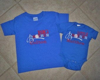 Personalized Lil Brother and Big Brother Baseball Shirt and Bodysuit set