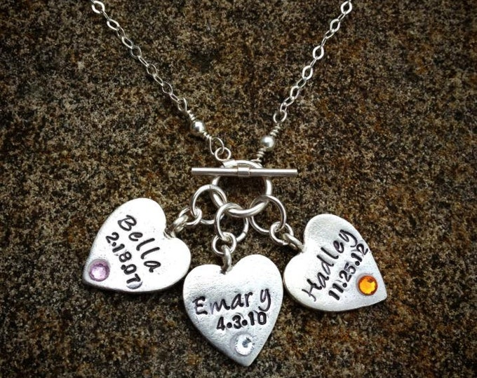 Wearing My Heart - Personalized Mother's Necklace - 3 Heart Version