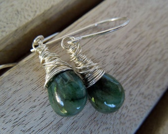 Emeralds and Sterling Silver Earrings-Calypso in Silver