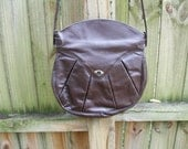Brown Leather Seamed Purse