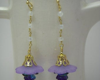 Lucite flower dangle earrings