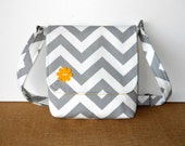 Small Messenger Bag / Cross body bag / Chevron Purse - Gray and White Zig Zag with Yellow