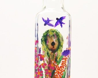 Hand Painted  Birdhouse and Wild Flowers Pour Bottle for Soap Oil Vinegar Pink Purple Red Yellow  Orange Greens