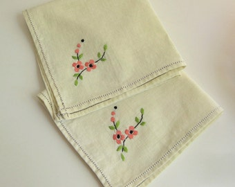 Two Sweet Cloth Napkins / Dogwood / Cherry Blossoms