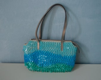 Retro Maison Saad Pweter Leather Purse with Wavy Crystal Drops