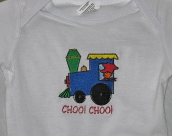 Embroderied Onsie With Train Child's 12 month size for all those Little Ones that Love Trains, Great under shorts