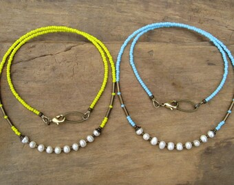 Cheerful Pearl Necklace in yellow or blue, Bohemian freshwater pearl jewelry with choice of colorful seed bead chain
