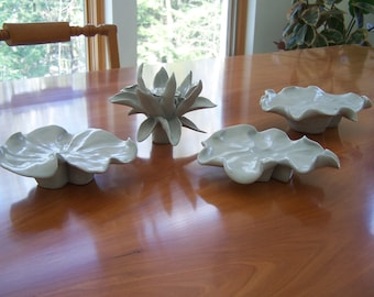 Water Lily - Four Piece Porcelain Table Centerpiece Sculpture - 3RD PRICE REDUCTION