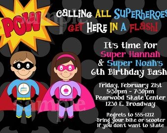 Superhero Birthday Invitation, Printable or Printed Party Invite