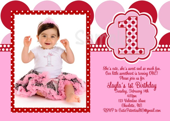 items similar to valentines day birthday invitations, 1st birthday, Ideas