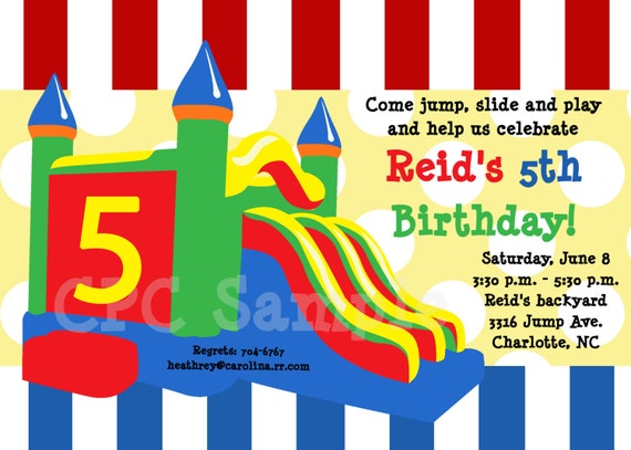 Bounce Castle Birthday Party invitations Printable or – Bouncy Castle Party Invitations