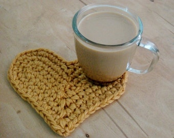 Crocheted Heart Pattern, Coaster Home Decoration Crochet Pattern