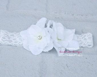 white baby headband, baptism headband, christening headband, white flower headband, veil