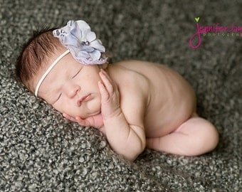 lavender baby headband, newborn headbands, lace flower headband, infant head band