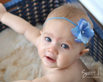 baby headbands, newborn headbands, blue small flower headband, infant headband, toddler headband, photo prop