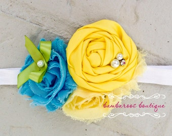 light blue and yellow baby headband, infant headband, newborn headband