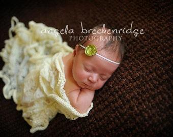 tiny newborn headband, baby headband, dainty headband, petite flower headband