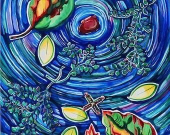 Large Blue Watercolor Abstract, Spiritual Art, Abstract Watercolor Painting, Abstract Nature, Blue Art, Blue Wall Art, Unique Home Decor