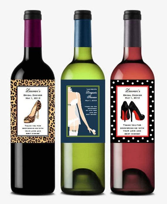 personalized BRIDAL SHOWER wine bottle labels theme favors