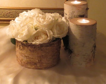 Birch Bark Vase  and  2  Birch Bark Candle Holders Rustic Wedding Centerpiece Birch LogsCottage Chic Bridal Shower Home Decor