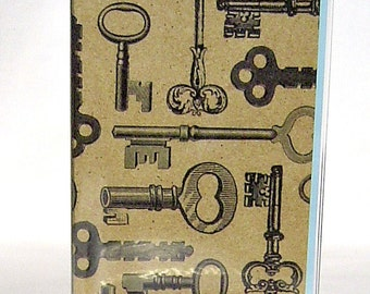 Passport cover, vintage inspired antique keys case, travel wallet, vinyl document holder, passport wallet id case