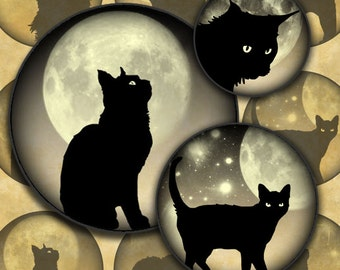 Black Cats on Newsprint Moonlit Skies 1 inch Circles Halloween Digital Collage Sheet--Instant Download
