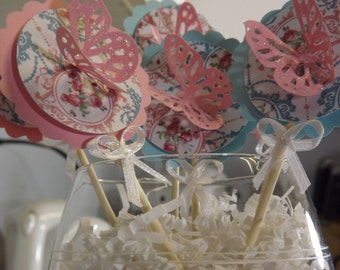 Shabby Chic Cupcake Toppers... Butterfly Cupcake Toppers... Cupcake Topper