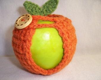 Handmade Crocheted Apple Cozy - Crochet Apple Cozy in Mango Color