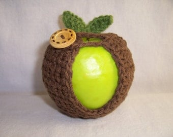 Handmade Crocheted Apple Cozy - Crochet Apple Cozy in Brown