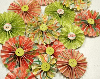 Pleated Paper Rosettes set of  14 of  Pleated Rosette Flowers in your choice of colors Party Luncheon Decoration