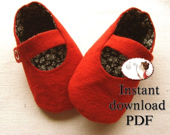 Baby Shoe Sewing Pattern  Red Mary Jane Booties DIY