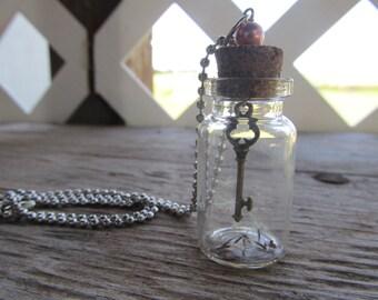 Wishing Key Jar Pendant Necklace