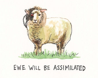 Borg Sheep, Ewe Will Be Assimilated 8x8 print