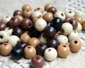 100pcs 10mm Wood Natural Mix Brown Round Beads 10mm Large Holes