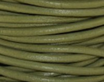 1mm Round Leather Cord Absinth Green : 2 yards 1.83m