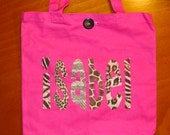 Large Personalized Tote (with button closure) - kids book  bag girl library school name custom birthday gift idea  animal flower wedding