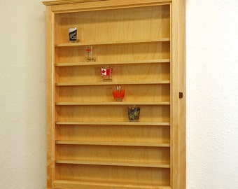 72 Maple Hardwood Shot glass display case wall cabinet rack shelves