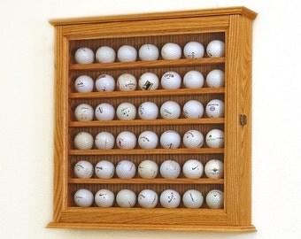Hardwood Golf Ball Display Case Cabinet Rack