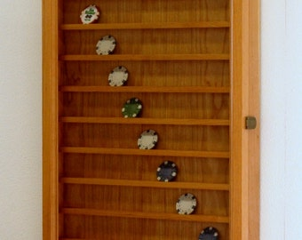90 Casino Poker Chip Display Case Wall Cabinet-Cherry Hardwood