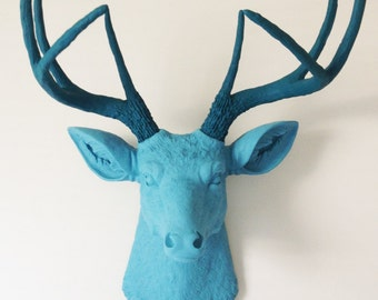 Baby Blue and Teal Deer Head Wall Mount