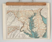 1930s Antique State Maps of Maryland, Delaware and Maine