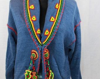 SALE ITEM Vintage 80s Southwestern Sweater Tribal Sweater By Victoria Jones